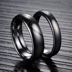 Heart Couple Rings Tungsten Steel