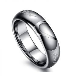Heart Tungsten Steel Men's Band