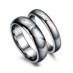Jeulia Heart Couple Rings Tungsten Steel