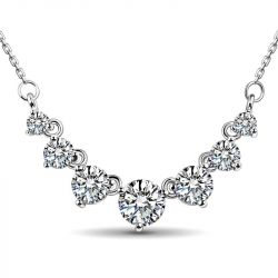 Jeulia Classic Round Cut Stone Pendant Sterling Silver Necklace