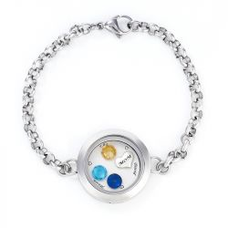 Engraved Floating Locket Bracelet With Charms And Birthstones Stainless Steel