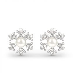 Snowflake Cultured Pearl Sterling Silver Stud Earrings