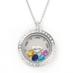 Engraved Floating Locket Necklace With Charms And Birthstones Stainless Steel