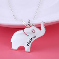 Elephant Engraved Necklace with Birthstone Sterling Silver