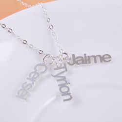 Vertical Name Necklace Sterling Silver