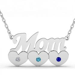 Mom with Birthstones Sterling Silver Necklace