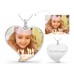 Jeulia Unique Heart Engraved Personalized Sterling Silver Photo Necklace