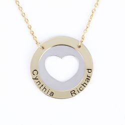 Jeulia Engraved Heart Sterling Silver Necklace
