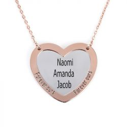 Jeulia Engraved Double Heart Sterling Silver Necklace