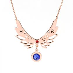 Jeulia Angle Wings Personalized Sterling Silver Necklace