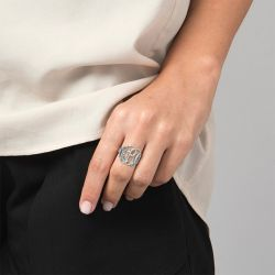 Jeulia Monogram Sterling Silver Ring