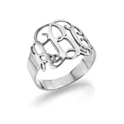 Jeulia Monogram Sterling Silver Ring