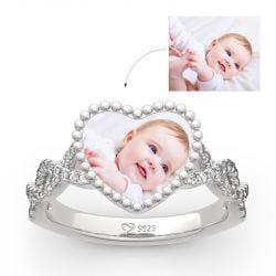 """Endless Love"" Sterling Silver Personalized Photo Ring"
