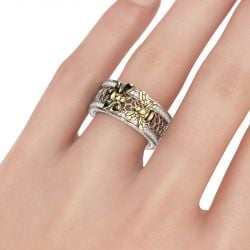 Two Bee Honeycomb Sterling Silver Women's Band