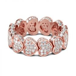 Rose Gold Tone Heart Sterling Silver Women's Band