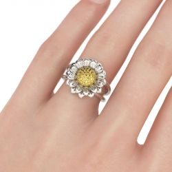 Sunflower Sterling Silver  Ring