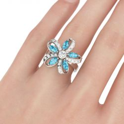 Jeulia  Flower Design Sterling Silver Ring