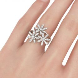 Jeulia Flower Design Split Shank Sterling Silver Ring