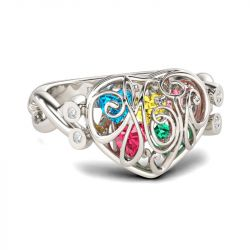 Heart Shape Birthstones Sterling Silver Ring