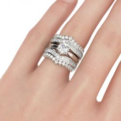 Art Deco Round Cut Sterling Silver 3PC Ring Set