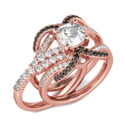 Jeulia Rose Gold Tone Cushion Cut Sterling Silver Ring Set