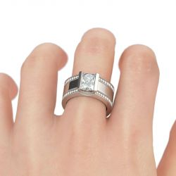 3PC Stackable Radiant Cut Sterling Silver Ring Set