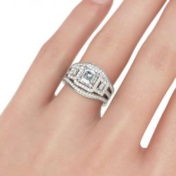 Halo Three Stone Asscher Cut Sterling Silver Ring Set