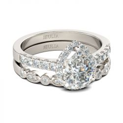 Halo Milgrain Pear Cut Sterling Silver Ring Set