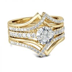 Gold Tone Interwoven Round Cut Sterling Silver 3PC Ring Set