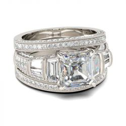 Jeulia Milgrain Asscher Cut Sterling Silver Ring Set