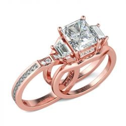 Interchangeable Rose Gold Tone Radiant Cut Sterling Silver Ring Set