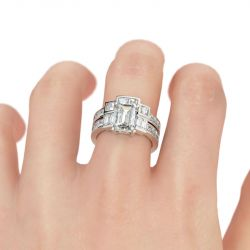 Jeulia Contemporary Design Emerald Cut Sterling Silver Ring Set