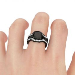 Black Tone Cushion Cut Sterling Silver Ring Set