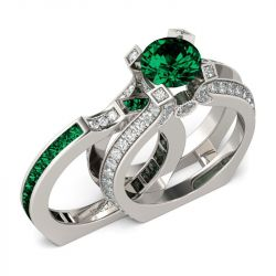 Interchangeable Round Cut Created Emerald Ring Set