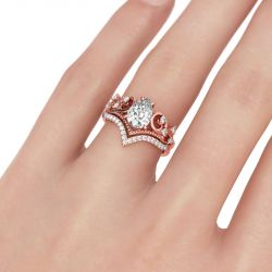 Jeulia Rose Gold Tone Pear Cut Sterling Silver Ring Set