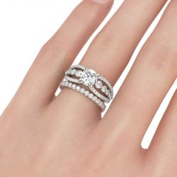 Split Shank Round Cut Sterling Silver Ring Set
