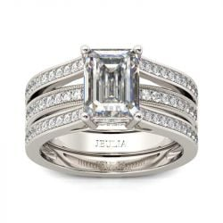 Jeulia Simple Emerald Cut Interchangeable Sterling Silver Ring Set