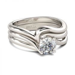 Jeulia Bypass Round Cut Sterling Silver Ring Set