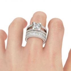 Milgrain Princess Cut Sterling Silver Ring Set