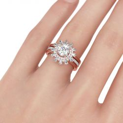 Interchangeable Halo Floral Round Cut Sterling Silver Ring Set