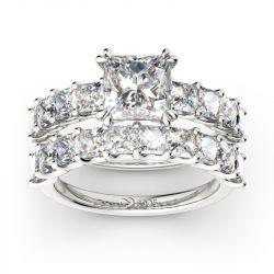 Jeulia Princess Cut Sterling Silver Ring Set