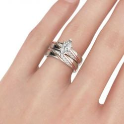 Diagonal Marquise Cut Sterling Silver Ring Set