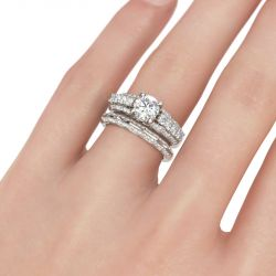 Contoured Round Cut Sterling Silver Ring Set