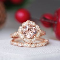 Floral Halo Round Cut Synthetic Morganite Sterling Silver Ring Set
