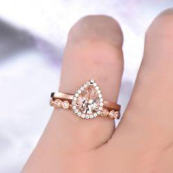 Halo Milgrain Pear Cut Synthetic Morganite Sterling Silver Ring Set