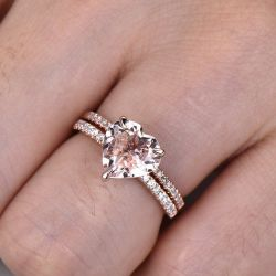 Pink Heart Cut Synthetic Morganite Sterling Silver Ring Set
