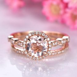 Halo Milgrain Round Cut Synthetic Morganite Sterling Silver Ring Set