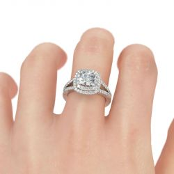 Halo Split Shank Cushion Cut Sterling Silver Engagement Ring