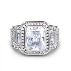 Jeulia Three Stone Radiant Cut Sterling Silver Ring