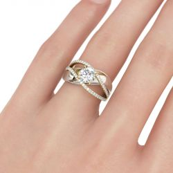 Jeulia Two Tone Crossover Round Cut Sterling Silver Ring